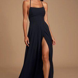 NWT Lulus Dreamy Romance Black Backless Maxi Dress